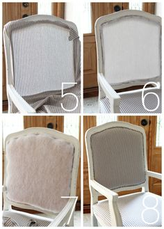 Möbel restaurieren How to upholster a french provincial chair from confessionsofaser. Diy Furniture Chair, Reupholster Furniture, Refurbished Furniture, Diy Chair, Furniture Upholstery, Upholstered Chairs, Painted Furniture, Chair Cushions, Chair Tips