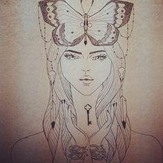 #drawing #tarot #deathtarot #illustration #girl #butterfly #birdskulls #feathers