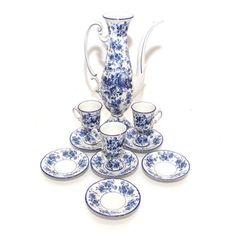 Floral Blue and White Demitasse China Set