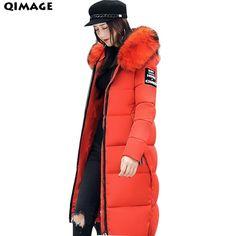 QIMAGE WomenWarm Parkas Jacket 2017New Winter Large Fur Collar JacketsCoatsWomenLongParkasCottonPaddedCoatsLadiesOutwearPlusSize