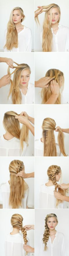Romantic Side Braid Hair Tutorial - try w/french braided fish tail?