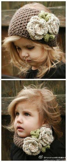 Dulce arteonline: Lindo cachecol e faixa de cabelo de crochê para meninas