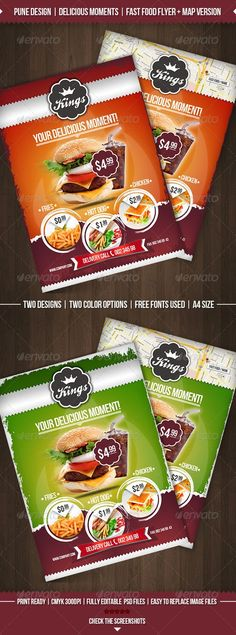 Fast Food Promo Flyer Template Flyer template and Fonts - food flyer template