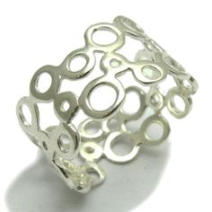 Stylish sterling silver ring solid 925 Circles band R000362 Empress #Empress