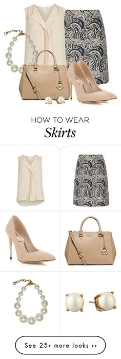 """'S MaxMara Pala Gold Jacquard Skirt"" by aannggiiee on Polyvore featuring 'S MaxMara, VILA, DIANA BROUSSARD, MICHAEL Michael Kors, Miss Selfridge and Kate Spade"
