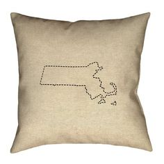 """Ivy Bronx Austrinus Massachusetts Dash Outline Double Sided Print Pillow Size: 18"""" x 18"""", Type: Cover, Fill Material : Faux Suede"""