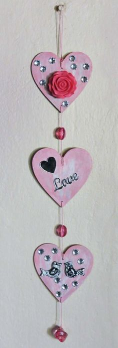 Trio of Hearts Wall Hanging