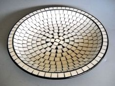 Mid Century Modern Scandinavian Black and White Chip Tile Platter Denmark 1950's #Unknown