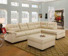 Small cream leather sectional sleeper sofa with chaise Cream Leather Sectional, Beige Sectional, Sectional Sofa With Chaise, Sofa Set, Couches, Cream Sofa, Small Sectional, Reclining Sectional, Leather Sofas