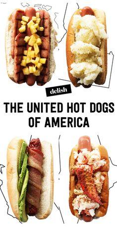 50 States of Hot Dog Toppings - Yummy on My Tummy - Italian Hot Dog, Hot Dog Toppings, Boston Baked Beans, Sushi, Hot Dog Bar, Brunch, Hot Dog Recipes, Pizza, Chapati