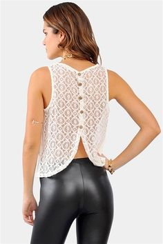 Lace Back Tank - Off White