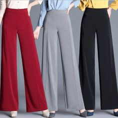 Ladies Work Pants For Office Plus Size Wide Leg Trousers Women Autumn Elegant Loose Formal Pants Red Gray Black Green Red Formal Pants Women, Pants For Women, Ladies Pants, Wide Leg Trousers, Wide Leg Pants, Ankle Pants, Long Pants, Bell Bottom Trousers, Plus Size