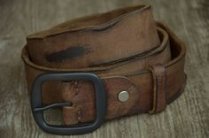 Unique Mens Leather Belt Genuine Cowhide Leather Belt Distortion Wrinkle Impression Brown Distressed Leather Belt For Cowboy by SherryJewelry, $27.00