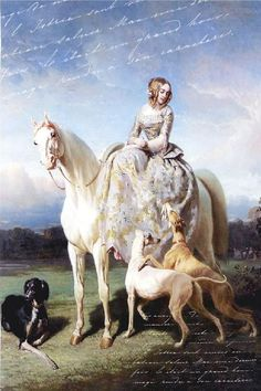 VICTORIAN LADY with GREYHOUNDS