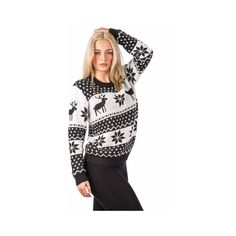 Pilot Dana Snowflake Knitted Christmas Jumper ($40) ❤ liked on Polyvore featuring tops, sweaters, black, knitwear, long sleeve sweaters, black jumper, snowflake sweater, long sleeve jumper and black top