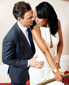 Kerry Washington & Tony Goldwyn of Scandal. I've never witnessed so much chemistry between two people as much as these two on the show. Olivia Pope Style, Olivia Pope Outfits, Olivia And Fitz, Scandal Fashion, Beaux Couples, Tv Couples, Tony Goldwyn, Babe, Black And White