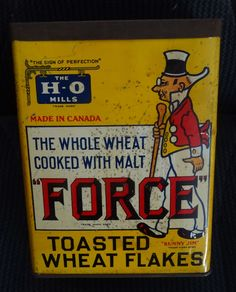 "Original/Vintage FORCE FLAKES Tin - Sunny Jim - ""Made in Canada"" - c.1920s? 