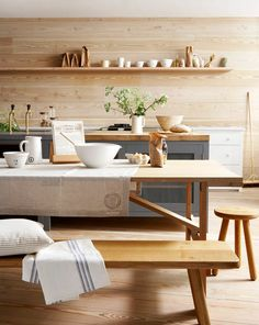 Summer Living: 12 Tips for Decorating Outdoors & Indoors Modern Design Trends, inspired by Dwell on Design / Emily Henderson The Best of home interior in Timber Kitchen, Wooden Kitchen, Kitchen Flooring, New Kitchen, Kitchen Dining, Kitchen Decor, Kitchen Ideas, Dining Room, Kitchen Island