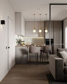 cool Lovely Small Apartment Interior Design Ideas That You Need To Imitate Kitchen Room Design, Modern Kitchen Design, Home Decor Kitchen, Interior Design Kitchen, Modern Interior, Small Apartment Interior Design, Kitchen Ideas, Cozy Kitchen, Interior Decorating