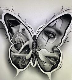 Chicano Tattoos Sleeve, Leg Tattoos, Body Art Tattoos, Sketch Tattoo Design, Tattoo Sketches, Tattoo Drawings, Chicano Drawings, Girl Face Tattoo, Clown Tattoo