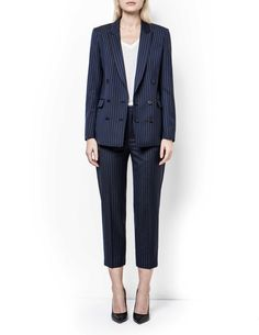 Adah blazer - Women's block-striped blazer in pure wool. Features double-breasted fastening with fabric-covered buttons. Two paspoil pockets and one inner pocket. Premium quality fabric from Italian weaver Marzotto Women's Blazers, Blazers For Women, Suits For Women, Women's Trousers, Trousers Women, Fabric Covered Button, Covered Buttons, Striped Blazer, Double Breasted