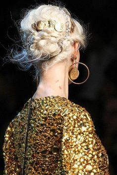 Authentic New Women's DOLCE & GABBANA Runway Luxury Coin Hairband #DolceGabbana #Headband