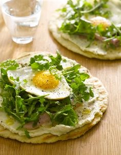 Crispy Pita from Weeknights with Giada: pita or tortilla topped with hummus and veggies or salad. maybe a little block of sautéed or TJ's baked tofu.