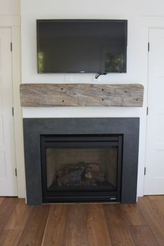 Bedroom fireplace with mantle Slate Fireplace Surround, Mosaic Fireplace, Paint Fireplace, Fireplace Built Ins, Shiplap Fireplace, Black Fireplace, Living Room With Fireplace, Fireplace Surrounds, Fire Surround