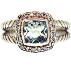 AQUAMARINE DIAMOND RING STERLING SILVER