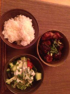 米饭,沙拉和姜鸡 rice, salad and ginger chicken