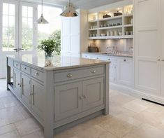 [ Kitchens Chunky Gray Kitchen Island White Kitchen Cabinets Granite Grey Kitchen Island ] - Best Free Home Design Idea & Inspiration Kitchen Redo, New Kitchen, Kitchen Dining, Kitchen Ideas, Kitchen Inspiration, Kitchen Interior, Country Kitchen, Kitchen Shelves, Kitchen Storage