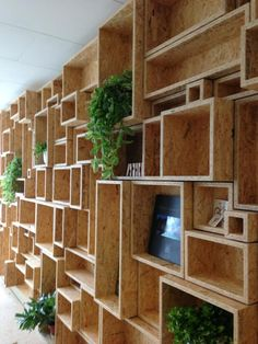 Various sized cubby boxes created out of Oriented Strand Board (OSB). Osb Plywood, Plywood Furniture, Home Furniture, Furniture Design, Office Furniture, Furniture Removal, Dvd Storage, Storage Ideas, Shoe Storage