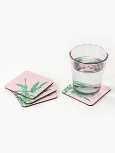 """Tropical Leaves Pink"" Coasters (Set of 4) by ind3finite 