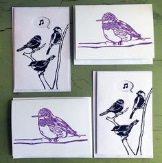 4 Bird Cards, Pack of 4 Greeting Cards, Bird Theme Greeting Cards by Wonderfulicious on Etsy