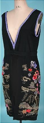 c. 1920's Black Silk OverDress with Chinese 3-D Beaded Design