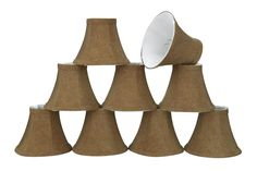 """# 30063-X Small Bell Shape Mini Chandelier Clip-On Lamp Shade, Transitional Design in Rusty Red, 6"""" bottom width (3"""" x 6"""" x 5"""") - Sold in 2, 5, 6 & 9 Packs"""