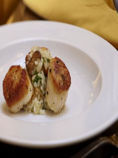 Caramelized Day Boat Scallops with Mushroom Risotto, from The Trellis Room