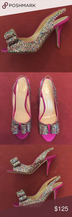 5a4f3cd8bba8 100% Authentic Kate Spade Glitter Bow Heels size 8 Offered for sale is a  pair
