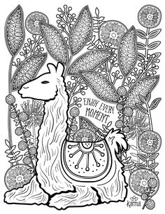llama free and printable coloring page by karma gifts