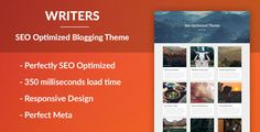 Writers - SEO Optimised Writing Theme . DescriptionWith search engines in mind such as Google and Bing we created the responsive theme Noteblog. It is a perfect responsive and gorgeous SEO friendly and SEO optimized WordPress blog theme. Noteblog is coded in a new way, where it loads everything async and have carefully enqueued scripts