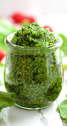 Radish Greens Pesto packs a peppery, nutritional punch!  Be sure to save those radish tops for this easy to make, delicious pesto! #radishgreens #radishgreenspesto #radish #pesto #wastenot