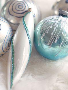 Embellish ornaments with Martha Stewart glitter glue pens