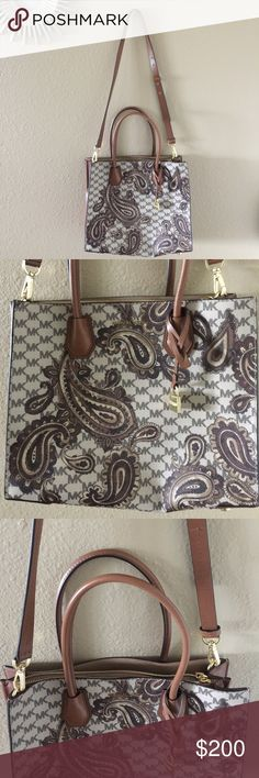 "MK👜 Cute studio paisley Mercer Handbag By Micheal Kors. Strap length 17"", color brown. NWOT Michael Kors Bags Satchels"