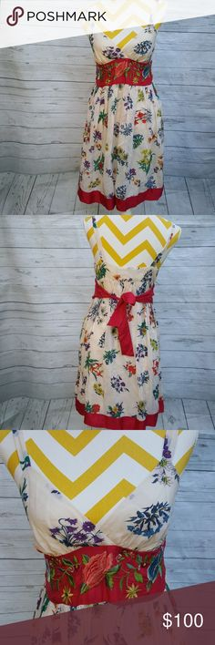 Johnny Was silk embroidered midi dress In very good pre owned condition Johnny Was Dresses Midi