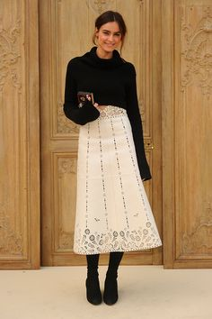 Kasia Smutniak wearing a Valentino skirt from the Spring 2017 Collection to the Valentino Spring/Summer 2017 Fashion Show on October 2nd 2016.