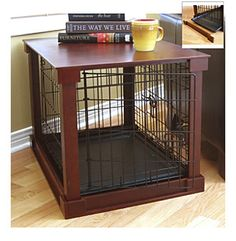 Or you can disguise a crate underneath an end table this end table - Wooden Dog Cage Plans Woodworking Projects Amp Plans
