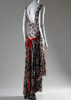 Louiseboulanger   Evening dress   Printed silk georgette, silk velvet ribbon   Circa 1928, France