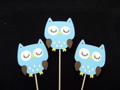 Baby Blue Owl Celebration Toppers - Cupcake Toppers - Sleeping Owl - Baby Shower Boy. $5.00, via Etsy.