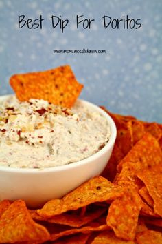 Once you try this dip for Doritos, you will never eat plain Doritos again! 8 oz cream cheese, softened, 8 oz sour cream, 1 small can (4 oz) chopped green chiles, 1/3 cup Bacon Bits, 1/4 tsp garlic powder (although I use 1/2 tsp…I like garlic!). Combine and chill for at least 3 hours.