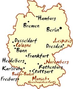 Germany Travel Map  Frankfort, intermediate stop to ski in Switzerland. Discovered in 1996, bio-mother; learned her family left Bremen 1954. Subsequently, visited Germany on spa & genealogical trip, including Bremen & many other sites as photo-journalist.